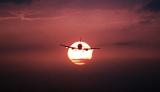 B737 approach sunset aviation stock photo #SS9713