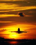 B747 takeoff sunset aviation stock photo #SS0103p