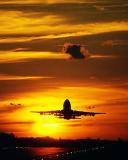 B747 takeoff sunset aviation stock photo #SS0103p