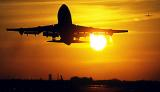 B747 takeoff sunset aviation stock photo #SS0105