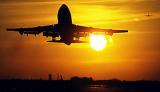 B747 takeoff sunset aviation stock photo #SS0105