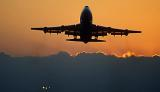 B747 takeoff sunset aviation stock photo #SS0109