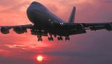 B747 landing sunset aviation stock photo #SS9912