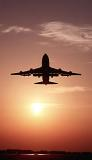 B747 takeoff sunset aviation stock photo #SS9913p