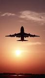 B747 takeoff sunset aviation stock photo #SS9913p