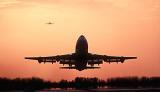 B747 takeoff sunset aviation stock photo #SS9916