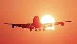 B747 landing sunset aviation stock photo #SS9922L