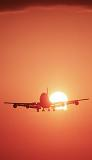 B747 landing sunset aviation stock photo #SS9922p