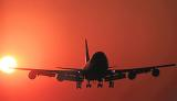 B747 landing sunset aviation stock photo #SS9923