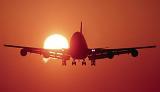 B747 landing sunset aviation stock photo #SS9930L