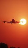 B747 landing sunset aviation stock photo #SS9931p