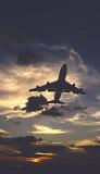 B747 takeoff sunset aviation stock photo #SS9941p
