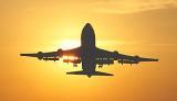 B747 takeoff sunset aviation stock photo #SS9942L