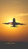 B747 takeoff sunset aviation stock photo #SS9942p