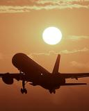 B757 takeoff sunset aviation stock photo #SS0006p
