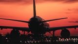 B757 taxi sunset aviation stock photo #SS9401