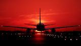 B757 takeoff sunset aviation stock photo #SS9402