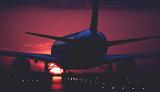 B757 takeoff sunset aviation stock photo #SS9405