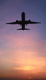 B757 takeoff sunset aviation stock photo #SS9805p