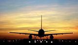B757 takeoff sunset aviation stock photo #SS9809