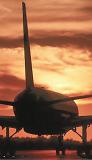 B757 taxiing sunset aviation stock photo #SS9927p