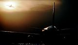 B747/B757 takeoff sunset aviation stock photo #SS9712