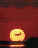 Sunset Skies and Prop Aircraft Stock Photos