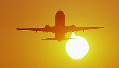 B767 takeoff sunset aviation stock photo #SS0104