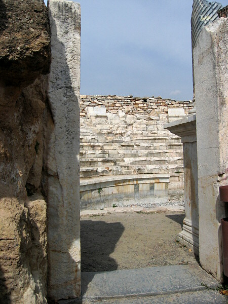 Coming upon the marble Odeon (small greek theater)