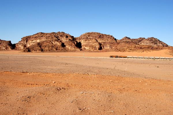 Jordanian railroad passing through Wadi Rum