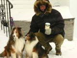 THREE NEW FRIENDS      not  a coffee advertisement  stormy maine day today