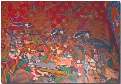 Wat Hua Lampng - graphic on inside temple wall 1