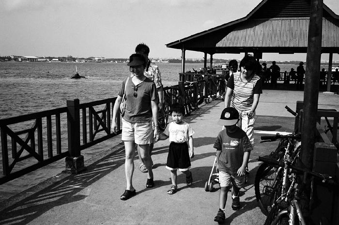 Family at Pulau Ubin Jetty