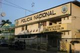 Bocas police station notice the Xmas decorations