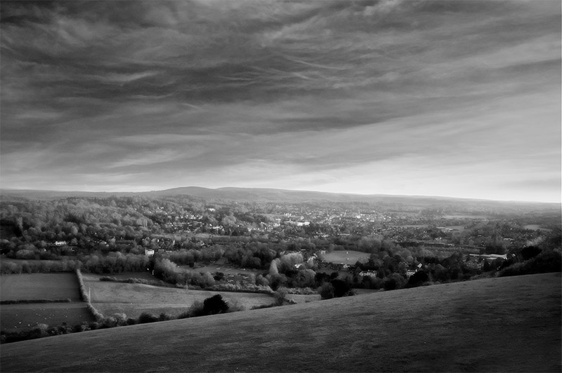 View of Dorking from Box Hill 8pm