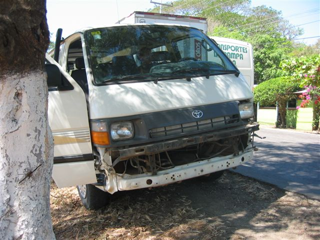 missing bumper on our van
