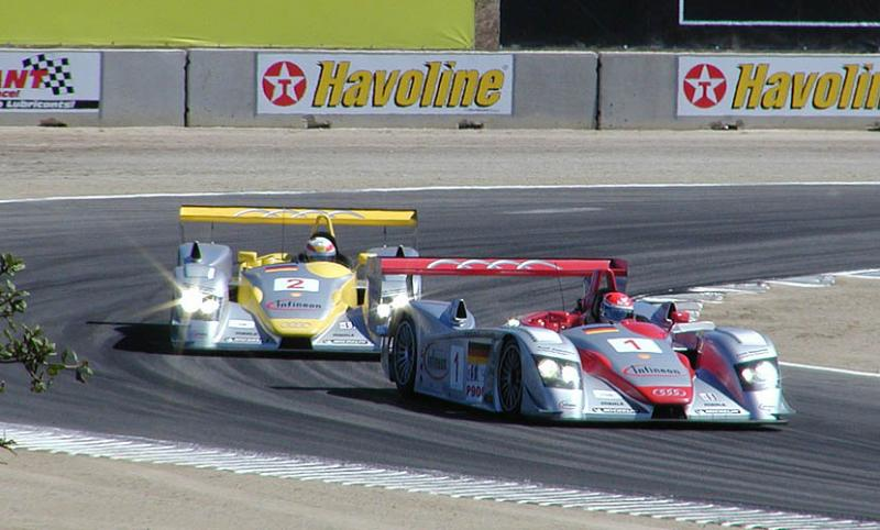 Two Audi LMP 900s at turn 11