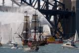 Bounty with fireboat at Harbour Bridge