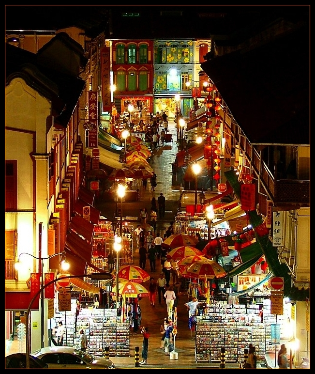 Chinatown: from the air, by night