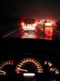 On a dark, wet M4 at 7mph