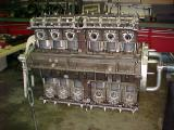 Engine with both cam hsgs. and heads installed botto view