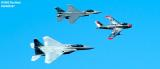 Heritage Flight of Ed Shipley's F-86 Sabre leading USAF F-15C and F-16C military aviation air show stock photo