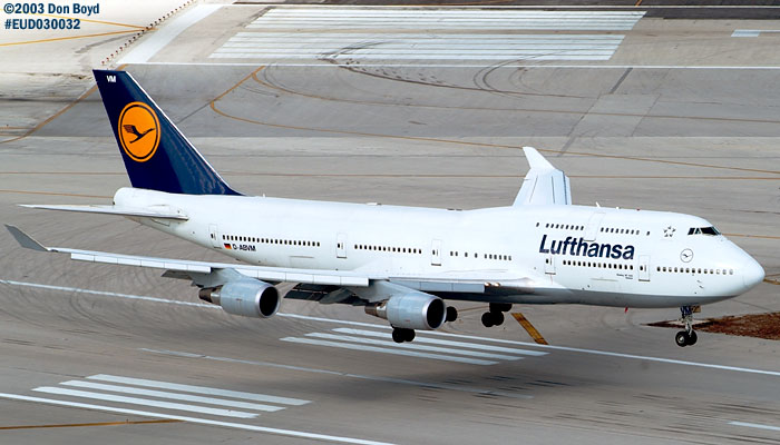Lufthansa B747-430 D-ABVM about to touch down on runway 12 at Miami International Airport aviation stock photo