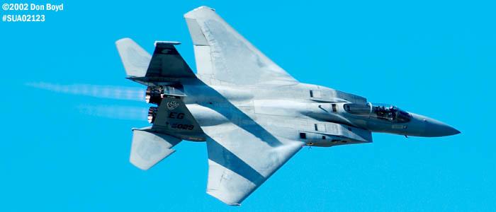 USAF F-15C-27-MC Eagle AF80-020 from Eglin AFB aviation air show stock photo