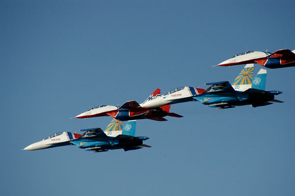 Su-27s and MiG-29s in formation