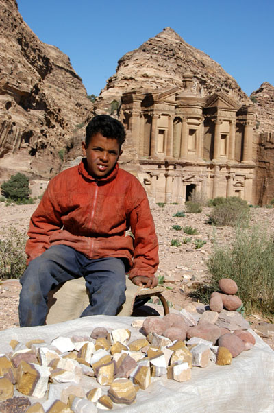 Boy selling Petra rocks at the Monastery