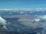 Lake Natron (breeding flamingos are the pink color you see)