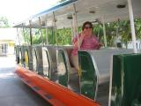 Lori getting ready to take a trolly ride