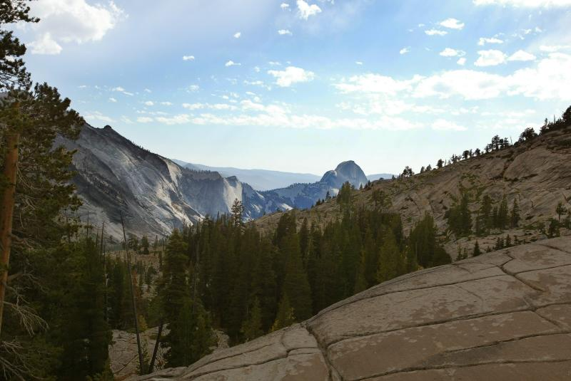 Half Dome back view from Tioga Pass Hwy.