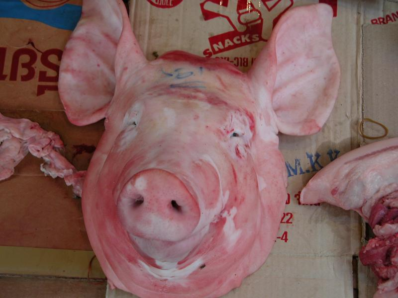 Pig Face - specialty in the Vientianne market